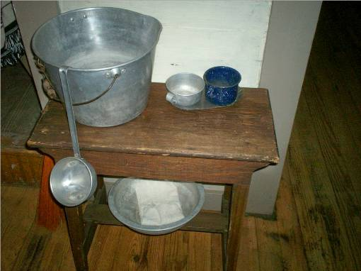 A Closer View Of The Water Bucket And Dipper Under The
